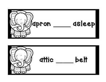 Dictionary Skill - Guide Words - Elephant - Black & White