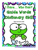 Guide Words Dictionary Skill - I Have...Who Has?  Baby Turtle