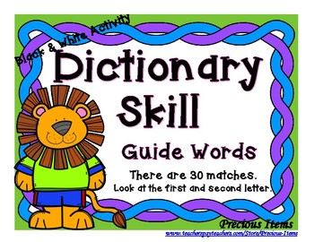 Dictionary Skill - Guide Words - Lion - Black & White