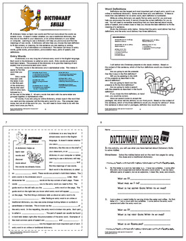 Dictionary Skills Activities + Dictionary Lesson & Dictionary Skills Worksheet