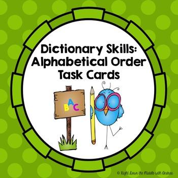 Dictionary Skills: Alphabetical Order Task Cards