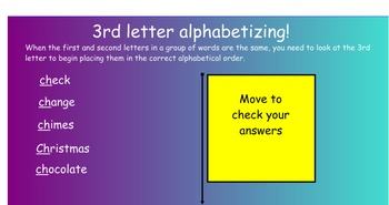 Dictionary Skills - Alphabetizing - Notebook interactive challenge