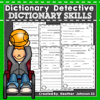 Dictionary Skills Detective Work: definition, guide words, vocabulary