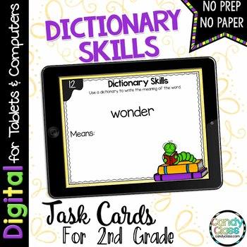 Dictionary Skills Digital Task Cards - Paperless Option