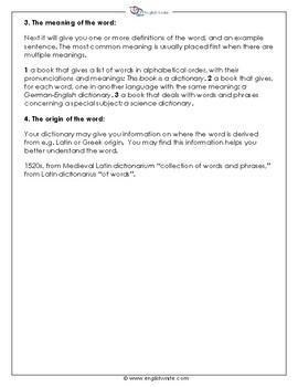 Dictionary Skills Guide