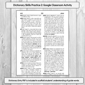 Dictionary Skills (Guide Words) Sort TWO: Google Classroom Digital Activity
