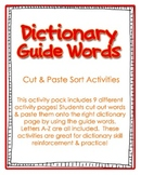Dictionary Skills & Guide Words Sorting for Grades 2, 3, 4