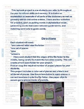 Dictionary Skills Lap Book Project