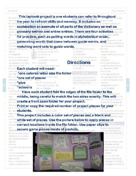 Dictionary Skills Lap Book Project