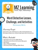 Dictionary Skills Lesson, Challenge, & Activities