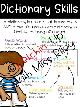 Dictionary Skills Poster and Task Cards