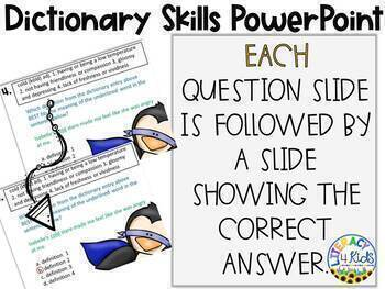 Dictionary Skills No Prep PowerPoint Activity for Grades 3, 4, and 5