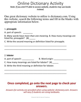 Dictionary Skills Powerpoint / PDF and follow up Activity with answer key