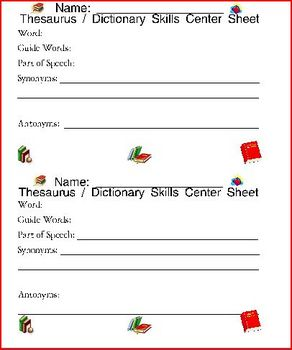 Dictionary Skills Practice Templates For All Words / Lists