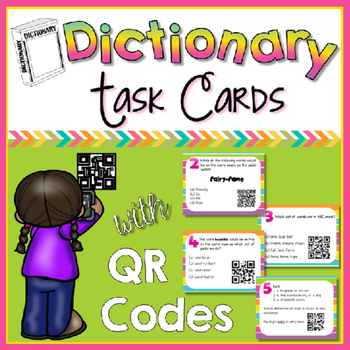 Dictionary Skills QR Code Task Cards