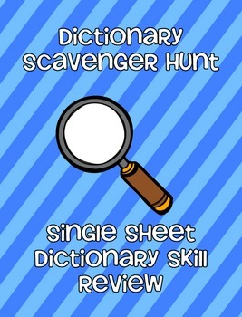 Dictionary Skills Review Sheet