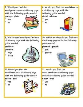 Dictionary Skills Task Cards
