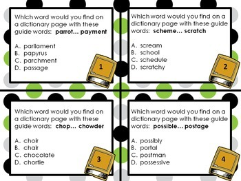 Dictionary Skills Task Cards - guide words & parts of speech
