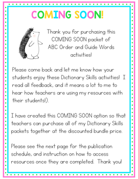 Dictionary Skills - Toy Shop ABC Order & Guide Words COMING SOON