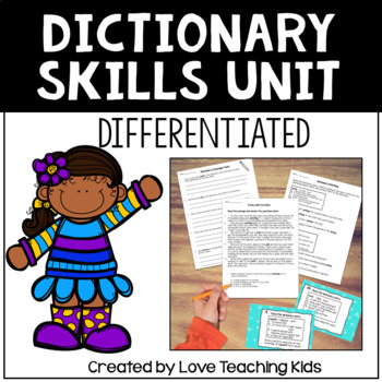 Dictionary Skills Unit- Powerpoint, Differentiated Task Cards, and Assessment