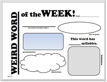 Dictionary Skills- Weird Word of the Week!