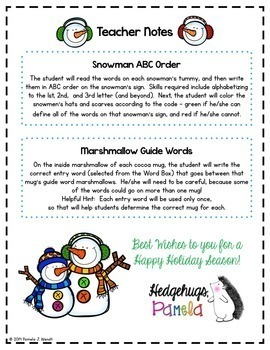 Dictionary Skills - Winter ABC Order and Guide Words CCSS Activities