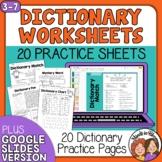 Dictionary Skills Worksheets No Prep Print or Digital Goog