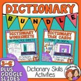 Dictionary Skills Worksheets and Task Cards Bundle plus Di