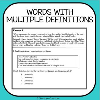 Dictionary Skills and Context Clues-- STAAR Formatted--TEK 6.2E