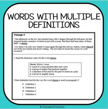 Dictionary Skills and Context Clues-- STAAR Formatted Dictionary Test Prep!