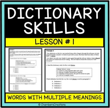 Dictionary Skills and Context Clues-- STAAR Formatted--Lesson One