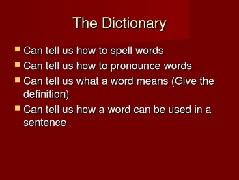 Dictionary Skills and Guide Words