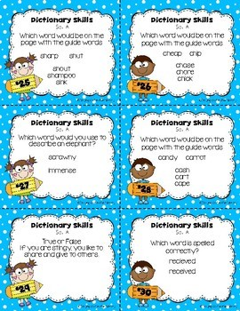 Dictionary Skills Task Cards for Grades 2-3