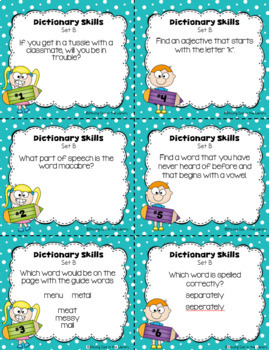 Dictionary Skills Task Cards for Grades 4-5