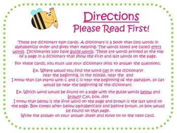 Dictionary Task Cards for Journeys Grade 2