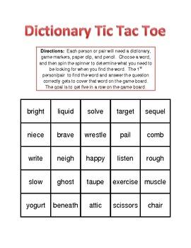 Dictionary Tic Tac Toe