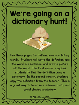 Dictionary Word Hunt