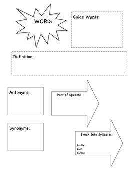 Dictionary Word Work Journal