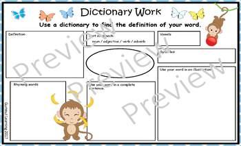 Dictionary Work - monkey theme