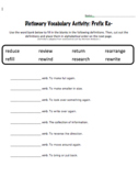 Prefix Worksheets with dictionary entries (re, un and dis)