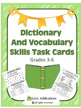 Dictionary and Vocabulary Skills Task Cards