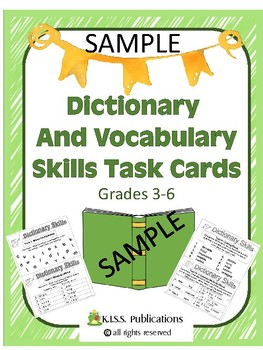 Dictionary and Vocabulary Task Cards Sampler