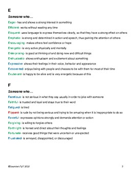 Dictionary of Challenging Character Trait Words