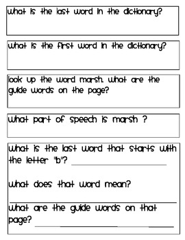 Dictionary practice worksheets- Dictionary Hunt