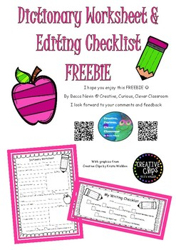 Dictionary worksheet & Editing Checklist FREEBIE
