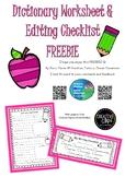 Dictionary worksheet & Editing Checklist FREEBIE