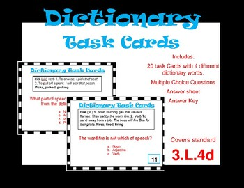 Dictionay Task Cards
