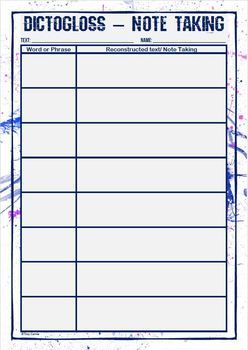 Dictogloss Graphic Organiser - Note Taking