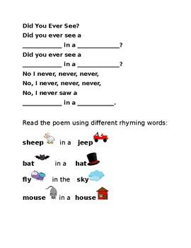 Did You Ever See- Rhyming Poem