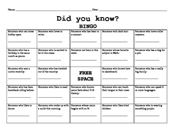 FREE Did You Know BINGO Icebreaker